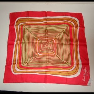 Vintage Schiaparelli Red, White & Gold Silk Scarf